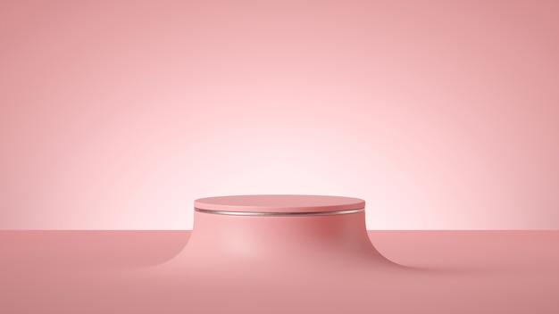 3d render abstrakcyjne minimalne różowe tło, pusty cylinder podium lub okrągła scena,
