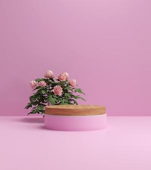 3d render abstrakcyjne tło, produkty kosmetyczne scena podium z platformą, na pokaz produktów kosmetycznych. stoisko prezentacja cokół studio.