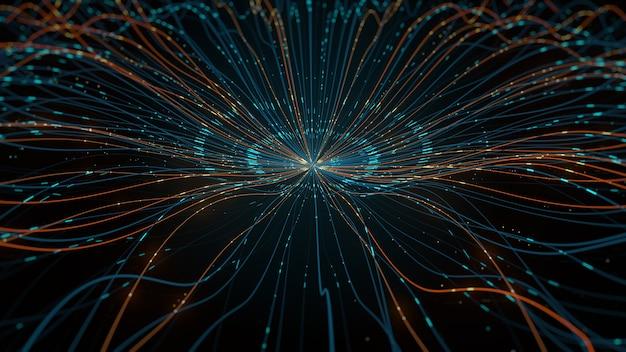 3d render abstrakcyjnego kształtu, który chaotycznie zdeformował się. koncepcja centralizacji danych.