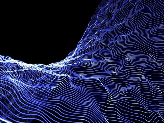 3d render abstrakcyjnego projektu tła przepływu cząstek, komunikacji sieciowej