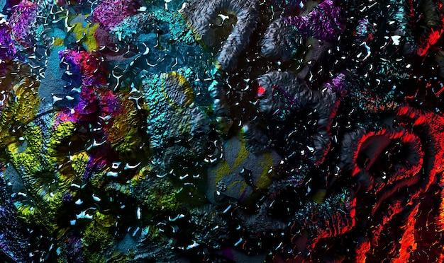 3d render abstrakcyjnej sztuki 3d tekstury tła z częścią szorstkiej powierzchni planetoidy grunge