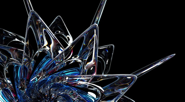 3d render abstrakcyjnej sztuki części surrealistycznej obcej gwiazdy kwiat słońce lub płatek śniegu lód szklany kwiat