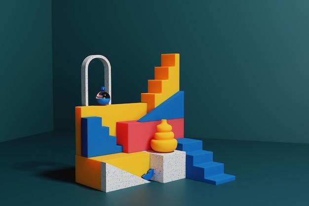 3d render abstrakcyjny kolorowy geometryczny wyświetlacz na podium na białym tle