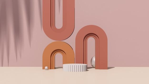 3d render abstrakcyjny surrealistyczny obraz biały podium z brązowym tłem reklama wyświetlania produktu