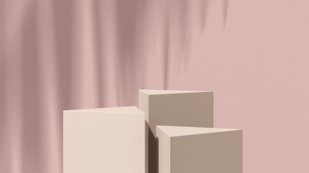 3d render abstrakcyjny surrealistyczny obraz kremowy podium z brązowym tłem reklama wyświetlania produktu