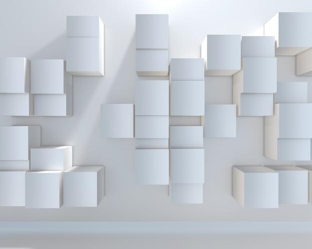 3d render abstraktu ze ścianą z wytłaczanych kostek