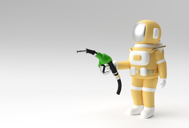 3d render astronauta napełniania ilustracja dysza pompy paliwa design.