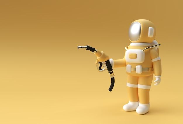 3d render astronauta napełniania ilustracja dysza pompy paliwa projekt.