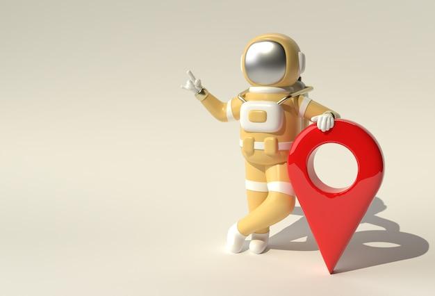 3d render astronauta z mapą wskaźnik 3d ilustracja projektu.