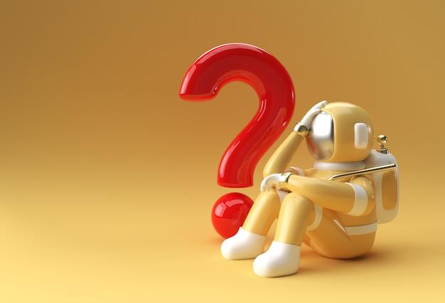 3d render astronauta ze znakiem zapytania myśleć, rozczarowanie, zmęczony kaukaski gest 3d ilustracji design.