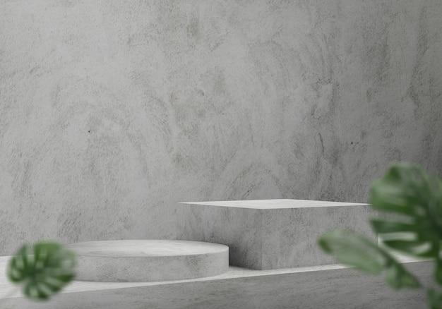3d render betonowe podium z monstera, abstrakcyjne tło, cokół na wystawę produktów marki.