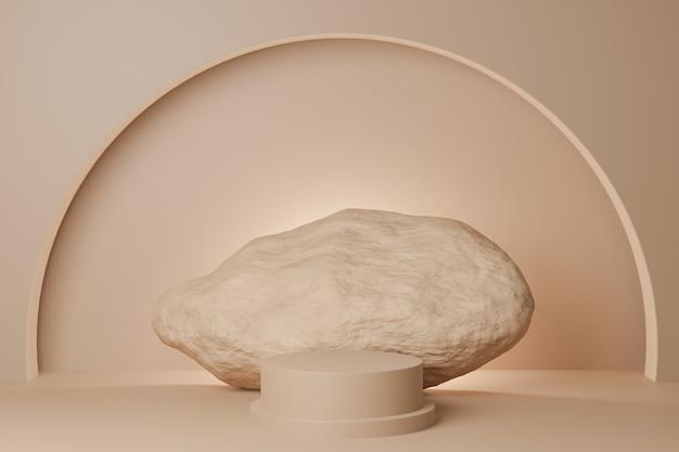 3d render beżowa skała i podium na beżowym tle