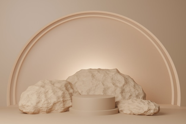 3d render beżowe skały i podium na beżowym tle