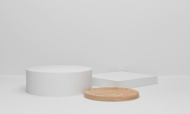 3d render białe koła i drewniane podium z białym tłem