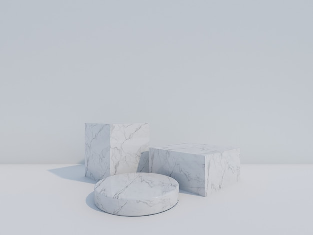3d render białe marmurowe podium na białym tle