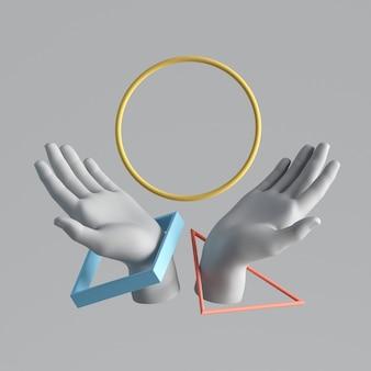 3d render białe sztuczne dłonie z lewitującymi kolorowymi kształtami geometrycznymi.