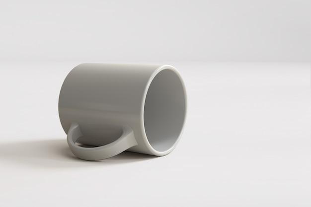 3d render białego kubka na białym tle