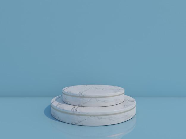 3d render białego marmuru podium na jasnoniebieskim tle