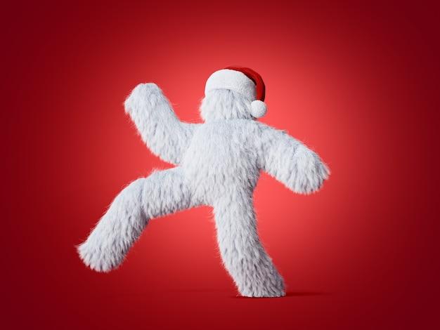 3d render białego włochatego yeti w świątecznym kapeluszu chodzącym, biegającym lub tańczącym