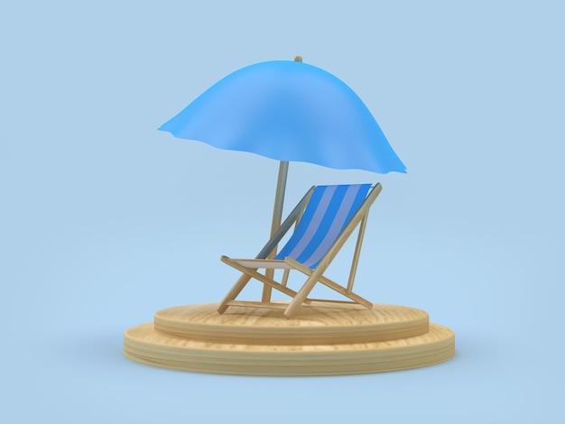 3d render biało-niebieski leżak i parasol na drewnianym podium na jasnoniebieskim tle