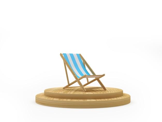 3d render biały i niebieski leżak na drewnianym podium na jasnoniebieskim tle