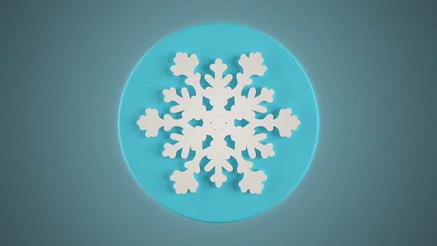3d render biały płatek śniegu na niebieskim tle