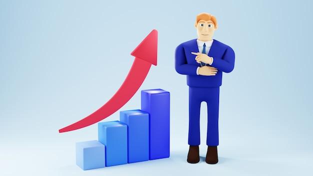 3d render biznesmena i wykres słupkowy. biznes online i e-commerce.
