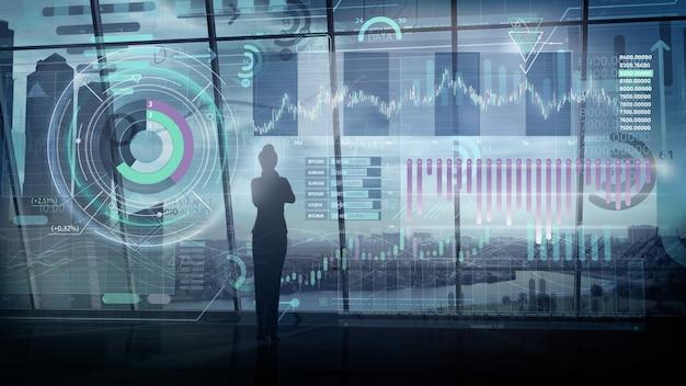 3d render bizneswoman i wirtualna projekcja infografiki giełdy