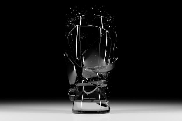 3d render broken glass realistyczne szkło mock up, ilustracja 3d projekt graficzny.