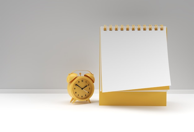 3d Render Budzik Z Notebookiem Makiety Z Czystym Pustym Miejscem Do Projektowania I Reklamy, Widok Perspektywiczny Ilustracji 3d. Premium Zdjęcia