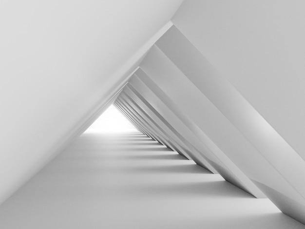 3d render całkowitego białego monochromatycznego budynku tunelu. abstrakcyjne tło