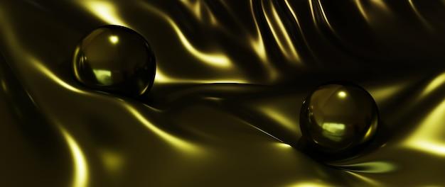 3d render ciemne złote kule i jedwabny abstrakcyjny baner w tle mody