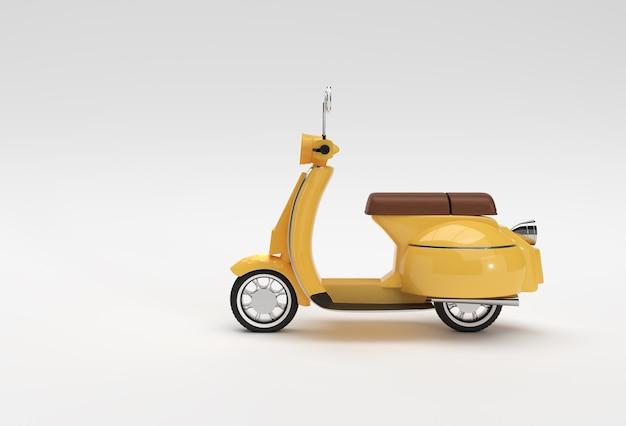 3d render classic motor scooter widok z boku na białym tle.