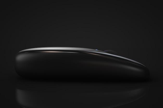 3d render czarna nowoczesna mysz bezprzewodowa na czarnym tle
