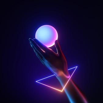 3d render czarna sztuczna ręka nosić geometryczną bransoletkę, trzymaj białą opalizującą piłkę