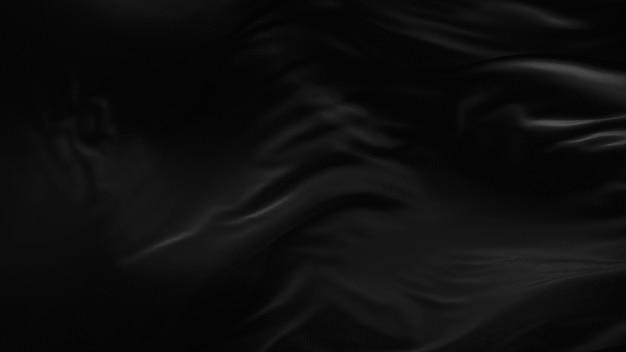3d render czarnego jedwabiu rozwijającej się tkaniny