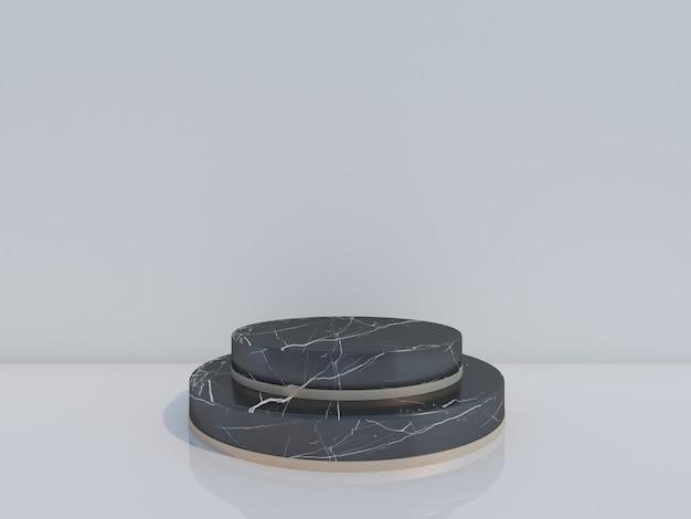 3d render czarnego marmuru podium na białym tle