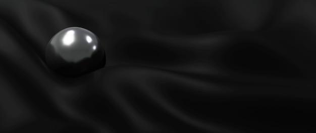 3d render czarnej kuli i jedwabiu. streszczenie sztuka tło moda.