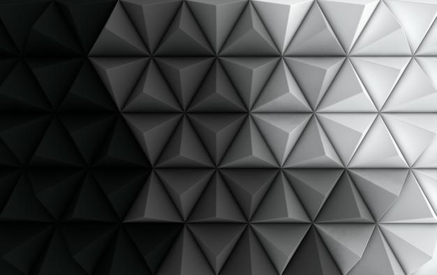 3d render czarno-białe wielokątne tło
