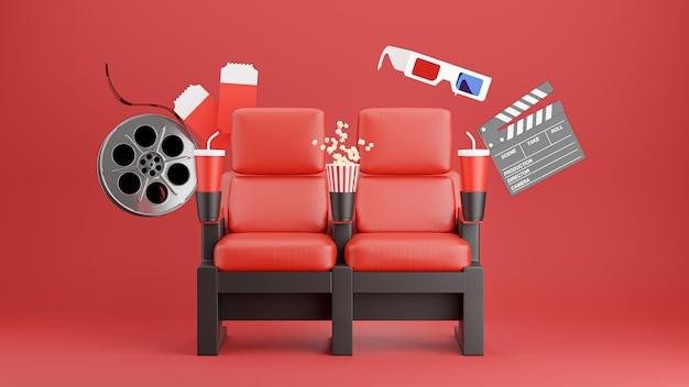 3d render czerwonego krzesła kinowego z popcornem, clapboard, 3d glasse, rolka