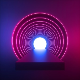 3d render czerwonego niebieskiego światła neonowego wewnątrz okrągłego długiego tunelu