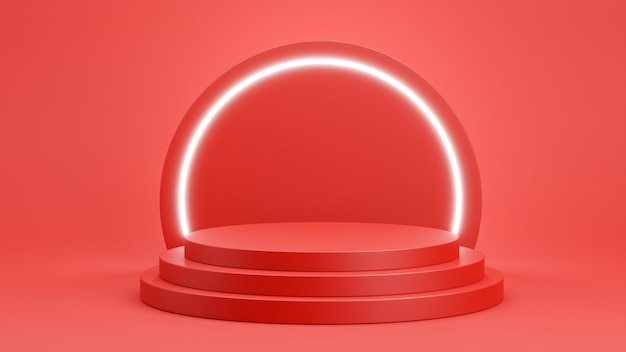 3d render czerwonego podium z jasnym neonem do wyświetlania produktów