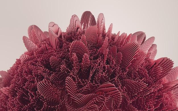 3d render czerwony deatailed kształt. dynamiczne futurystyczne tło.