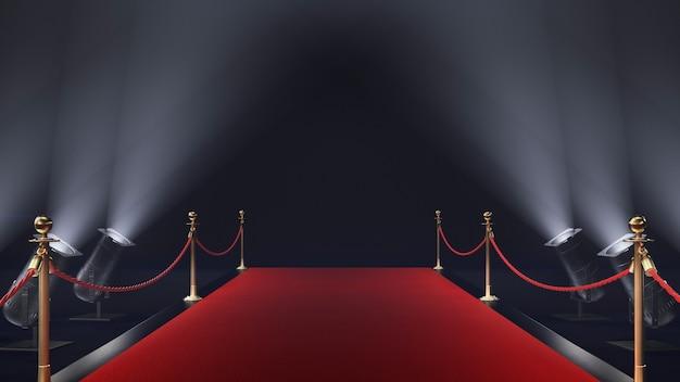 3d render czerwony dywan na czarnym tle