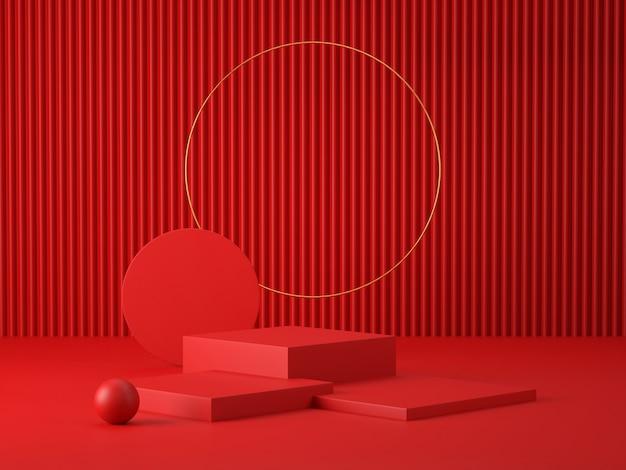 3d render czerwonych podium