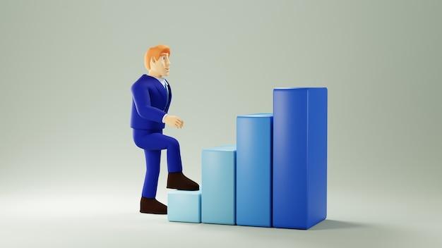 3d render człowieka biznesu i wykres słupkowy. biznes online mobilny i e-commerce.