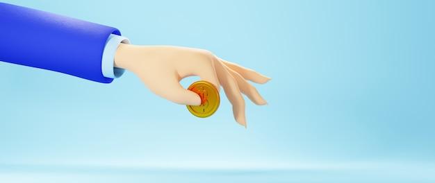 3d render dłoni i złotej monety. biznes online mobilny i e-commerce.