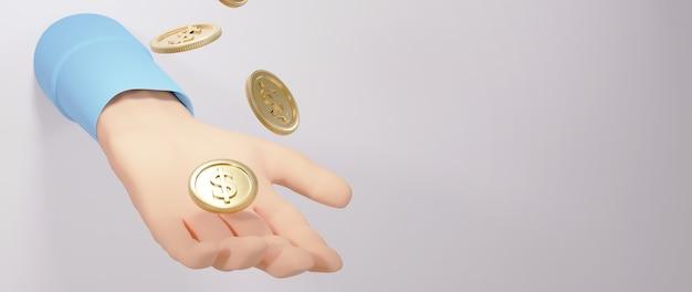 3d render dłoni i złotych monet. zakupy online i e-commerce w sieci koncepcja biznesowa. bezpieczna transakcja płatności online za pomocą smartfona.