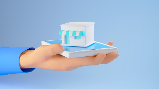 3d render dłoni trzymającej mały sklep na niebieskim tle