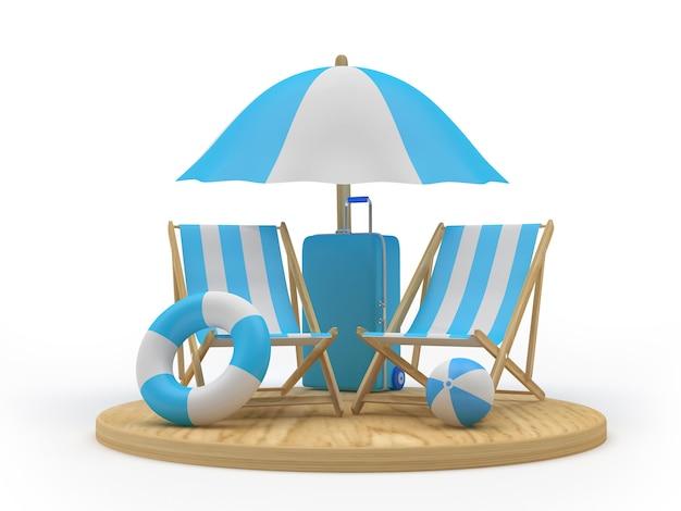 3d render drewniana deska z parasolem plażowym, krzesłami, kołami ratunkowymi i walizką na białym tle